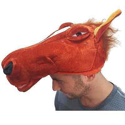 Horse Animal Hat Farm Fancy Dress Party Costume Accessory Mens Ladies Riding Fun