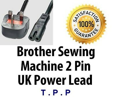 UK Mains 2 PIn Power Lead Cable Cord For Brother Sewing Machines