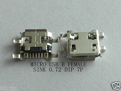 50 Pcs Micro USB connector B type female jack sink 0.72 DIP 7 Pin