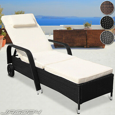 Polyrattan Sun Lounger Sofa Day Bed Recliner Chair Wicker Garden Patio Furniture
