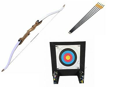 """Left Handed 66"""" Take Down Archery Adult Recurve Bow Kit with Target and Arrows"""