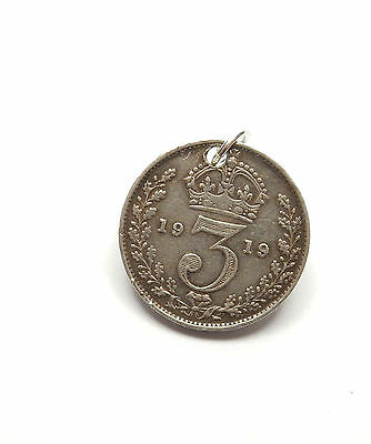 Antique George V Silver 1919 THREE PENCE 3P COIN Charm Pendant 1.4g