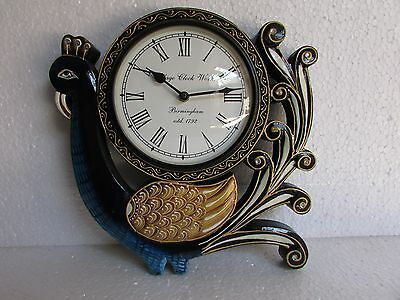 Vintage Style Handcrafted Peacock Design Carved Wooden Wall Clock