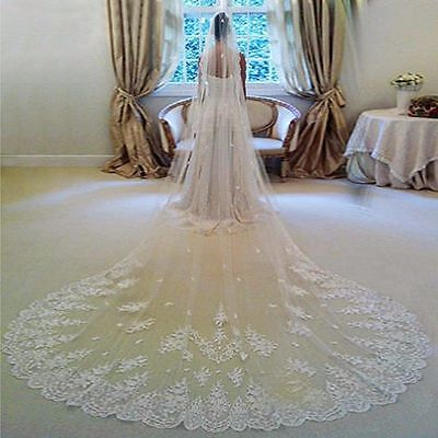 Fashion Cathedral Tulle&lace 3M Long Length Bridal Wedding Veil With Comb