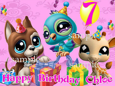 LITTLEST PET SHOP Custom Edible CAKE Image Icing Topper