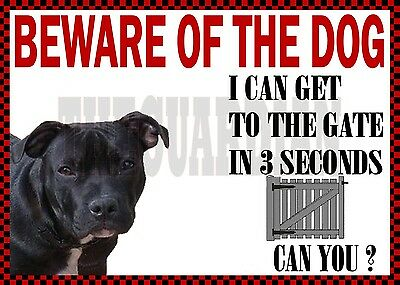 n STAFFORDSHIRE BULL TERRIER STAFFIE BEWARE NOVELTY DOG SIGN