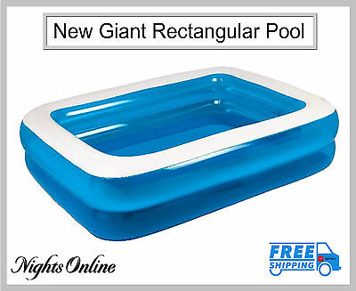 New Giant Rectangular Pool, Inflatable Outdoor Family Paddling Pool In 3 Sizes