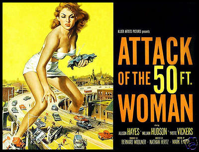 Attack of the 50 ft Woman FRIDGE MAGNET Movie Poster 6x8 Canvas Print