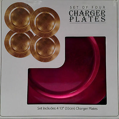 """SET OF FOUR DECORATIVE RED CHARGER PLATES 13"""" (33cm)"""