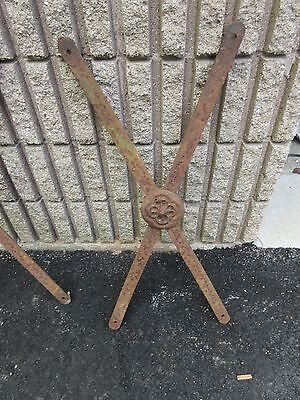 "c1910-20 SALVAGED iron fence fragments DECOR piece w medallion 29"" h x 13.5"" w"