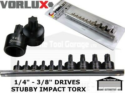 "VORLUX 10pc 1/4"" - 3/8"" dr Stubby Impact Torx Bit Socket Set T10 to T50 NEW 1346"