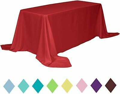 """10 packs Rectangle 90""""x156"""" inch Polyester Tablecloth 8ft Banquet Cover 18 Color"""