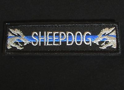 Sheepdog Straight Tab Tactical K9 Morale Usa Police Thin Blue Line Hook Patch