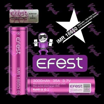 2 Efest Purple IMR 18650 3000mAh / 35A HIGH DRAIN Flat Top Battery / Efest Case