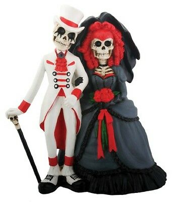 Day of Dead Gothic Bride and Groom Wedding Cake Topper Statue 5.25H 7855