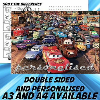 Childrens Cars Dinner Mat A4 / A3 sizes available 1 Place Mat