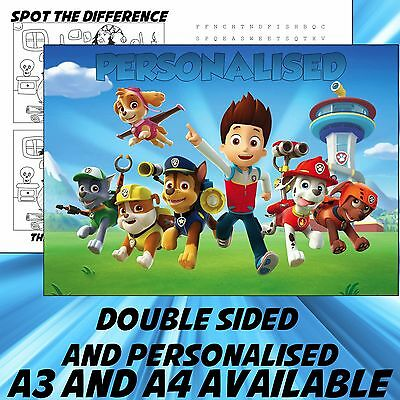 Childrens Paw Patrol Dinner Mat A4 / A3 sizes available Place Mat