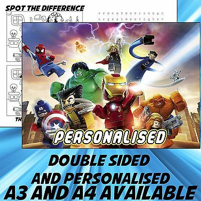 Childrens Lego Avengers Dinner Mat A4 / A3 sizes available Place Mat