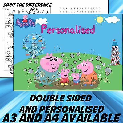 Childrens Peppa Pig Dinner Mat A4 / A3 sizes available Place Mat