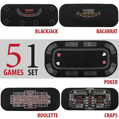 5 in 1 Casino Holdem Poker Blackjack Craps Roulette Baccarat Folding Table Top