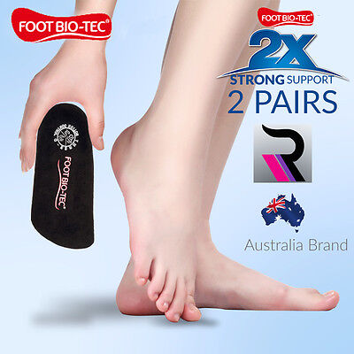 2x Men Women Strong Arch Support Foot Bio-Tec Orthotic Insoles Pads Cushion 3/4