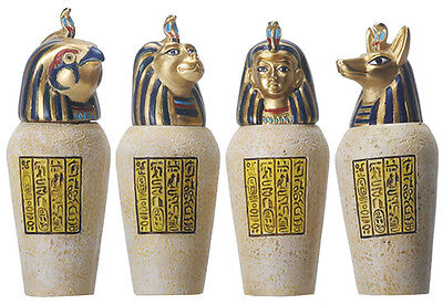 Egyptian Canopic Jars, Set of 4, 3.5H T84420