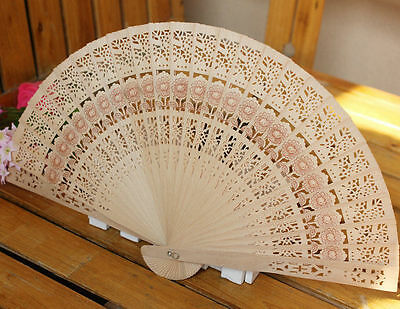 Vintage Folding Bamboo Original Wooden Carved Hand Fan Wedding Bridal Party