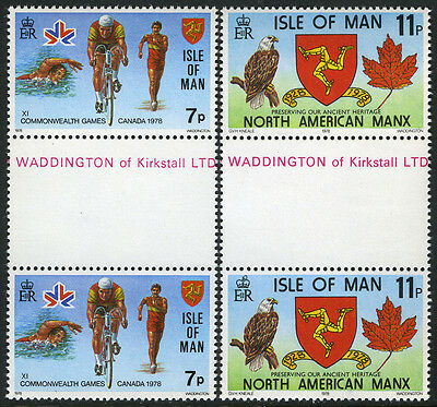 Isle of Man 139-140 gutter pairs, MNH. Commonwealth Games.Walking,Bicycling,1978