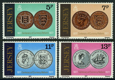 Jersey 171-174, MI 160-163, MNH. Currency reform, 100th anniv. Coins, 1977