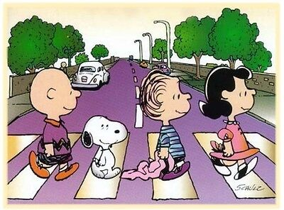 Peanuts Charlie Brown Snoopy Abbey Road Iron On T Shirt Fabric Transfer #1