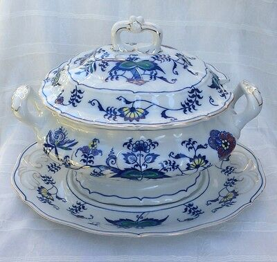 BLUE DANUBE Japan MASCOT #99183 Rare COLORED ACCENTS Large SOUP TUREEN Set