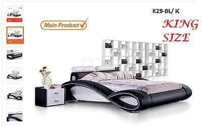 New Italian Designed King Size Black & White Pu Leather Bed Frame