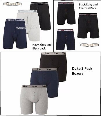 Mens Kam & Duke 3 Pack Button Fly Underwear Boxer Shorts Big King Sizes 2Xl-8Xl
