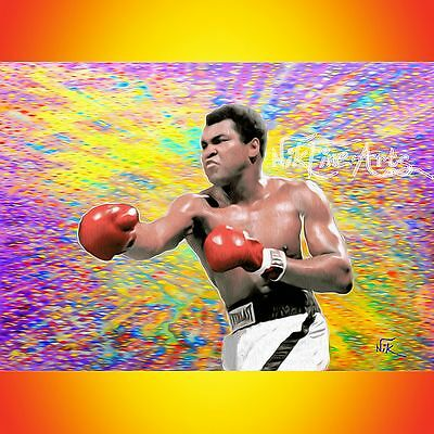 Nik Tod Original Painting Large Signed Art Deco Modern Amazing Rare Muhammad Ali
