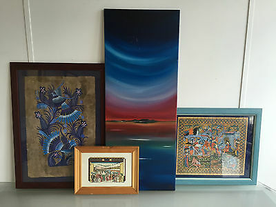 Lot Of 4 Asian Themed Framed Prints + Painting - Vr
