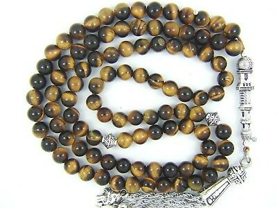 TIGER EYE PRAYER BEADS ISLAMIC TASBIH MASBAHA GIFT QURAN 6mm x99 ROUND 100 COUNT