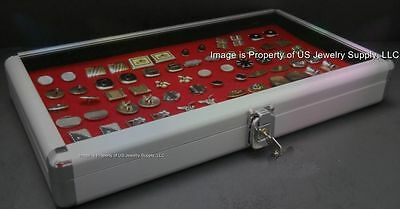 1 Wholesale Locking Aluminum Red Cufflinks Display Storage Boxes Case