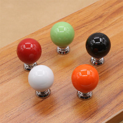 Round Ceramic Colorful Simple Cabinet Cupboard Drawer Ball Knob Pull Handle ZH21