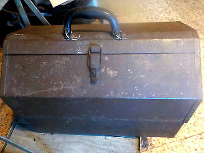 Antique TOOLBOX Dome Cantilever Leather Handle OLD ITEMS & LEATHER POUCHES