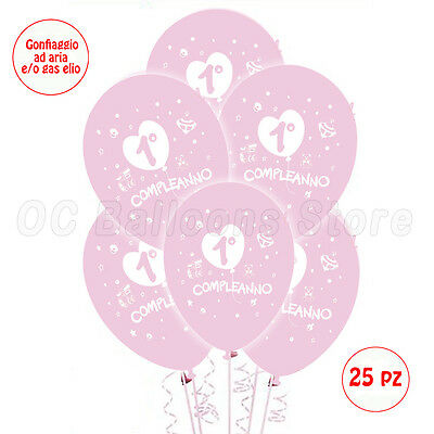 Palloncini 1° compleanno primo festa party bombola elio lattice rosa 25pz