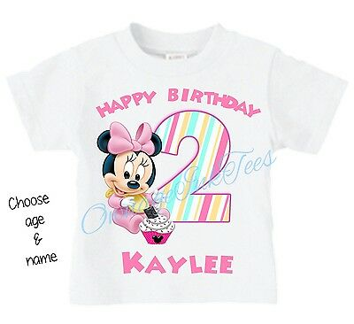 Baby Minnie Mouse CHOOSE AGE AND NAME Custom t-shirt Personalize Birthday