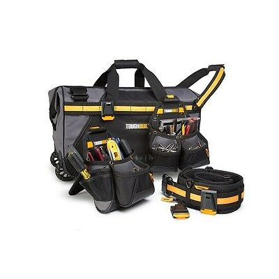 "Toughbuilt 24"" Rolling Toolbag + Toolbelt, Carpenters Pouch And Builders Pouch"