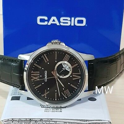 087c05b033f New CASIO MEN S ANALOG WATCH BLACK LEATHER Day Date Classic Quartz  MTP-E105L-1A