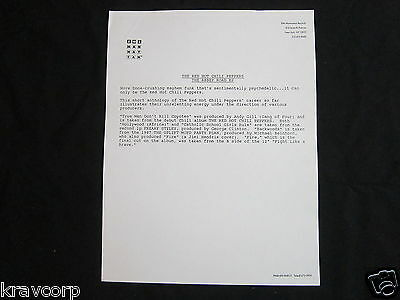Red Hot Chili Peppers 'Abbey Road Ep' 1988 Press Release