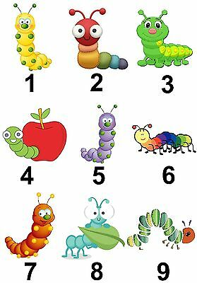 Caterpillars Small or Large Sticky White Paper Stickers Labels NEW