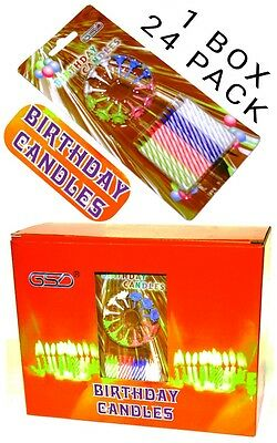 Birthday Candles 24 Candles And 12 Candle Holders 1 Box 24 Pack Gsd New