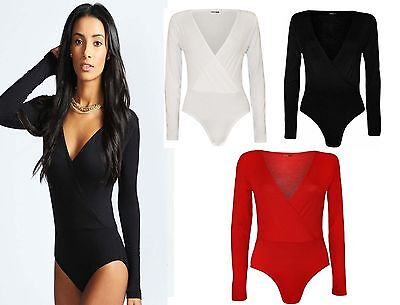 New women Long Sleeve Wrap Front Stretch Bodysuit and top UK Size 8-26