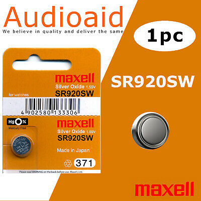 2Pc Sr920Sw (371) Genuine Maxell Silver Oxide Battery - Made In Japan (Not Fake)