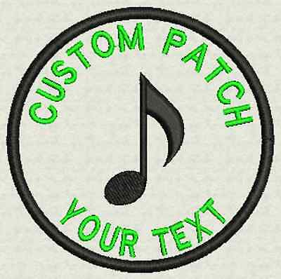 "3"" Circle Custom Embroidery Music, Tag, Patch, Badge  Iron On or Sew On"