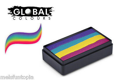 Global Colours 30g Ibiza Fun Stroke Rainbow Cake, Professional Face Paint Party